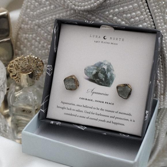 Luna Norte Jewelry - Aquamarine crystal birthstone raw cut earrings